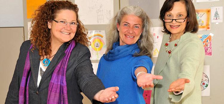 Initiatorinnen der Linkshänderei: Claudia Winter, Sigrid Kahle, Marianne Dräger